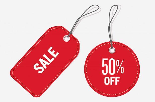 Cartellini dei prezzi di colore rosso Vettore Premium