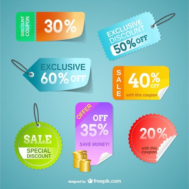 Cartellini dei prezzi insieme vettoriale libero Vettore gratuito