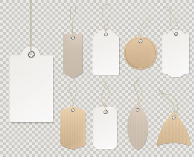 Cartellini dei prezzi vuoti. modello di etichetta di carta, progettazione vuota di sconto del regalo del negozio del cartone della corda decorativa dell'autoadesivo della carta del regalo delle etichette in bianco Vettore Premium