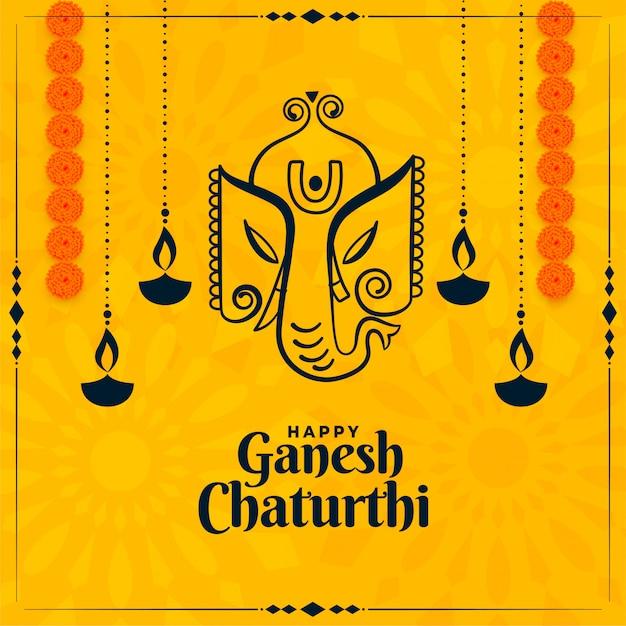 Cartellino giallo festival indiano felice di ganesh chaturthi Vettore gratuito