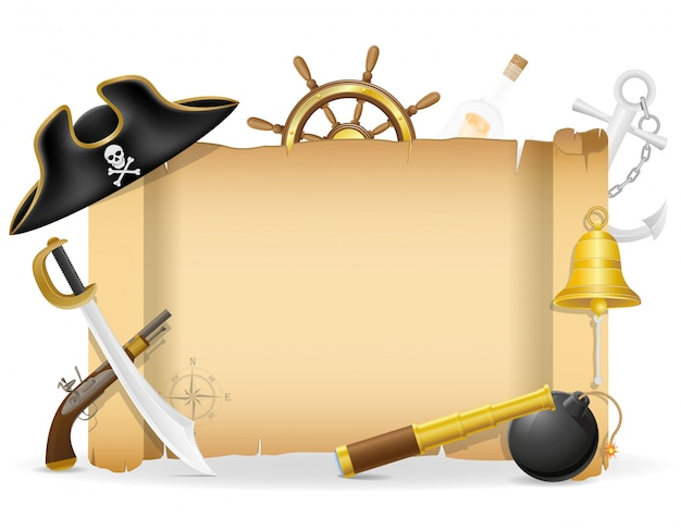 Cartello del pirata con l'illustrazione di vettore del copyspace Vettore Premium