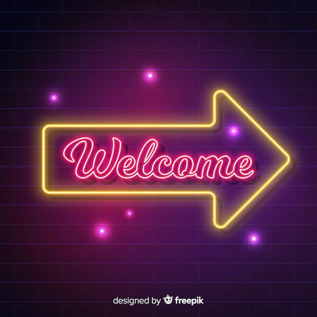 Cartello di benvenuto moderno con stile luce al neon Vettore gratuito