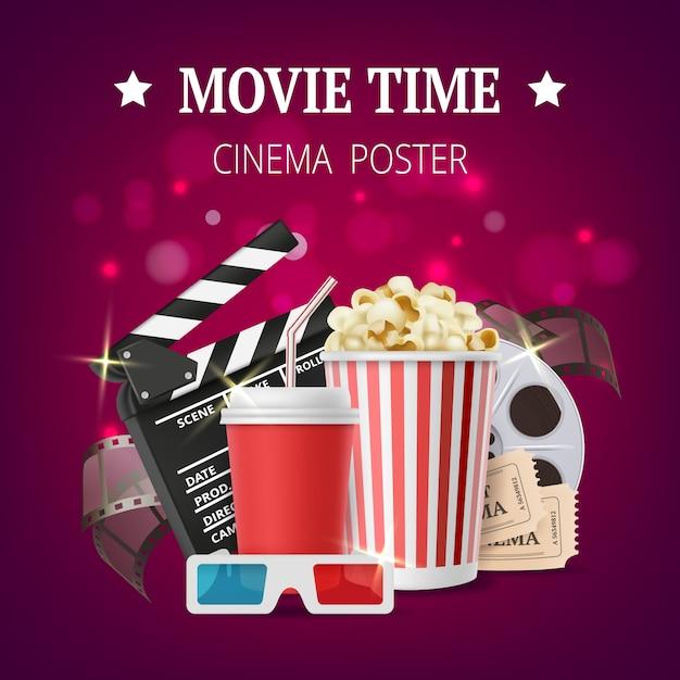Cartello di film, cinema con simboli di produzione cinematografica, nastri stereo, occhiali, popcorn, ciak Vettore Premium