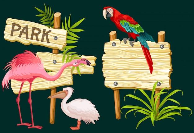 Cartello in legno o insegne, uccelli esotici e foglie verdi. Vettore Premium