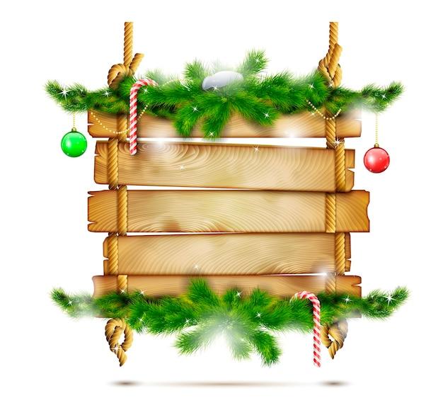 Cartellone di natale in legno appeso. Vettore Premium