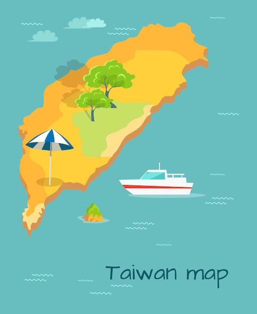 Cartografia cartografica di taiwan. isola cinese nell'oceano Vettore Premium