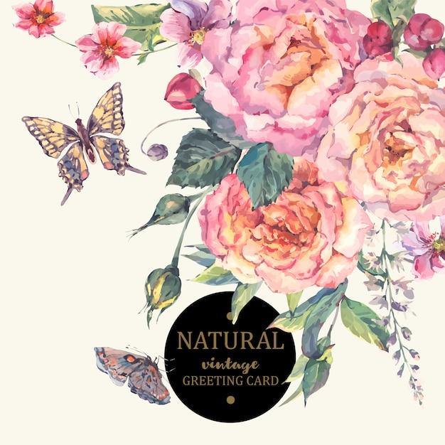 Cartolina d'auguri classica delle rose dell'annata Vettore Premium