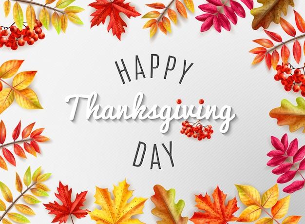 Cartolina d'auguri colorata di giorno di ringraziamento con felicitation all'illustrazione felice concentrare di vettore di giorno di ringraziamento Vettore gratuito