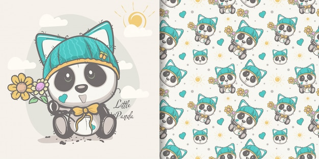 Cartolina d'auguri cute cartoon panda con seamless Vettore Premium