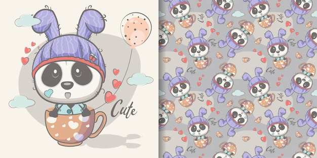 Cartolina d'auguri cute cartoon panda con seamless Vettore Premium