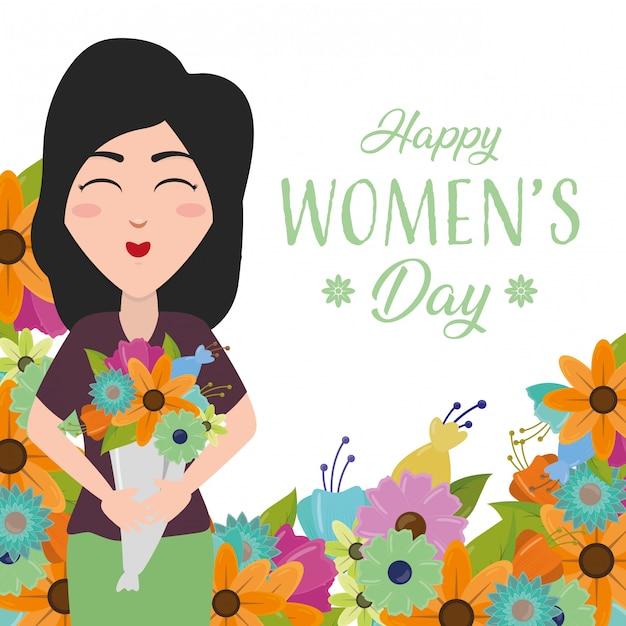 Cartolina d'auguri del giorno delle donne felici, donne felici con i fiori Vettore gratuito