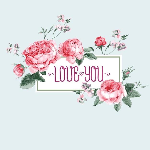 Cartolina d'auguri dell'acquerello dell'annata con fioritura di rose inglesi Vettore Premium
