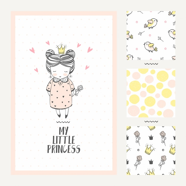 Cartolina d'auguri della ragazza della principessa e tre modelli senza cuciture Vettore Premium
