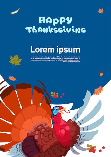 Cartolina d'auguri di autumn traditional harvest happy day del ringraziamento con la turchia Vettore Premium