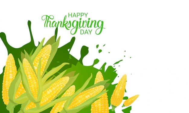 Cartolina d'auguri di autumn traditional harvest holiday happy day di ringraziamento Vettore Premium