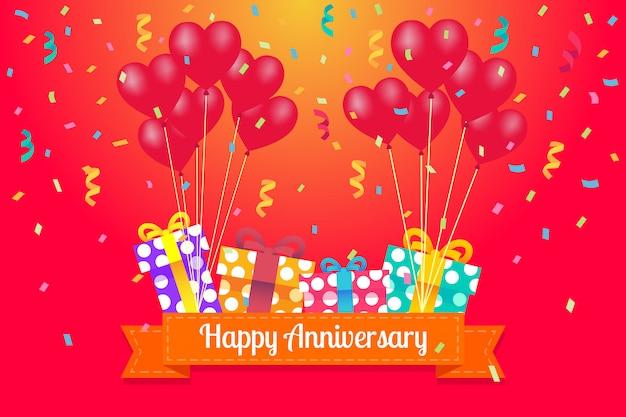 Cartolina d'auguri di buon anniversario con palloncini cuore Vettore Premium