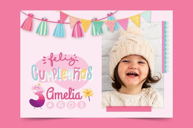 Cartolina d'auguri di buon compleanno per bambini Vettore gratuito