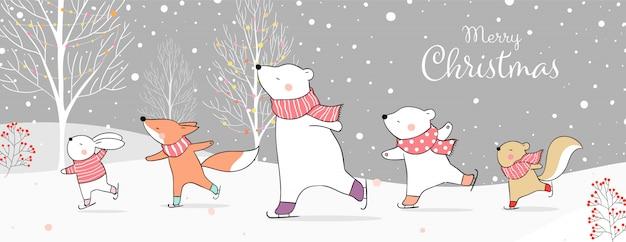Cartolina d'auguri di buon natale con animali sui pattini da ghiaccio nella neve concetto di inverno. Vettore Premium
