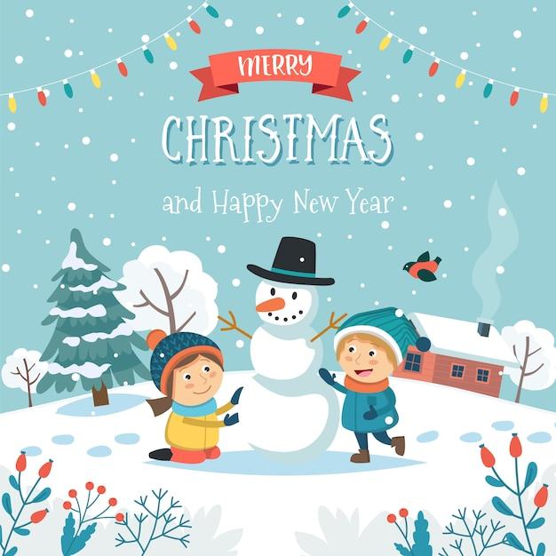 Cartolina d'auguri di buon natale con bambini che fanno pupazzo di neve e testo. Vettore Premium