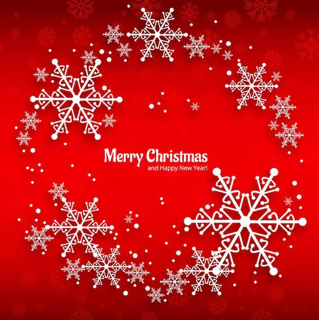 Cartolina d'auguri di buon natale con fondo rosso dei fiocchi di neve Vettore gratuito