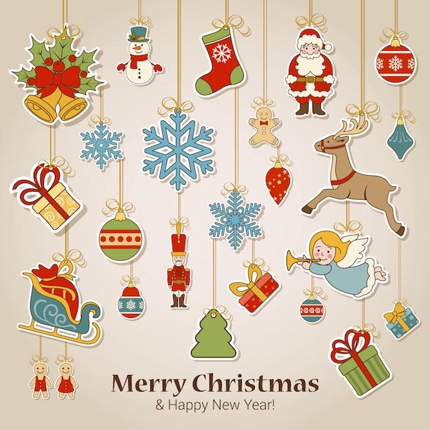 Cartolina d'auguri di buon natale e felice anno nuovo Vettore gratuito