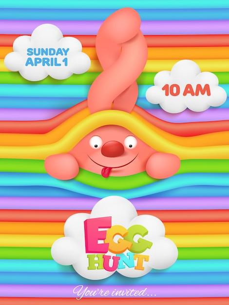 Cartolina d'auguri di caccia dell'uovo con il personaggio dei cartoni animati rosa del coniglietto sull'arcobaleno Vettore Premium