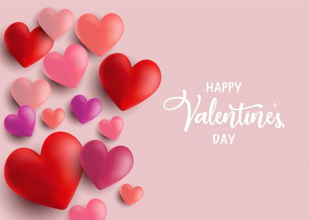 Cartolina d'auguri di cuori di san valentino Vettore gratuito