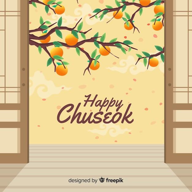 Cartolina d'auguri di design piatto chuseok Vettore gratuito