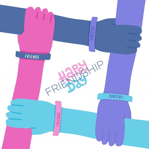 Cartolina d'auguri di felice amicizia giorno con lettering citazione Vettore Premium