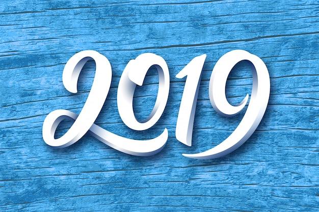 Cartolina d'auguri di felice anno nuovo 2019 vettoriale Vettore Premium