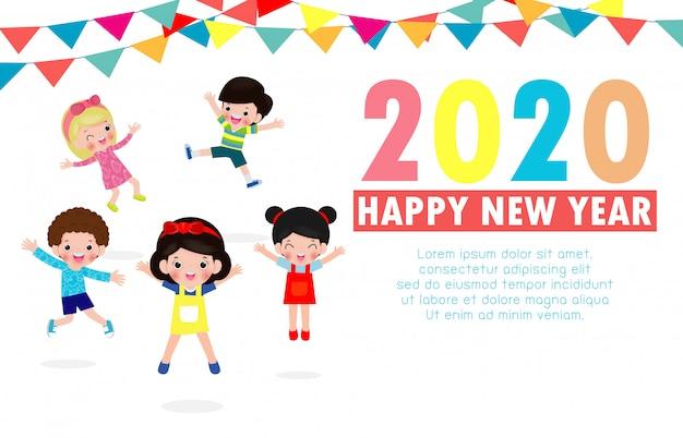 Cartolina d'auguri di felice anno nuovo 2020 con salto di gruppo bambini Vettore Premium