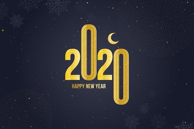 Cartolina d'auguri di felice anno nuovo 2020 con segno d'oro e luna Vettore Premium