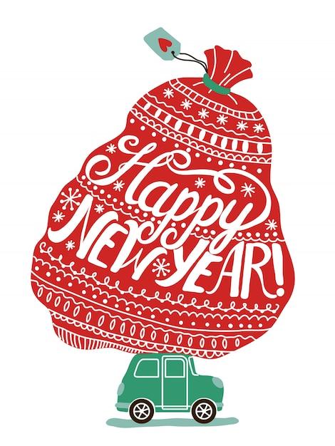 Cartolina d'auguri di felice anno nuovo con auto con borsa piena di regali di natale Vettore Premium