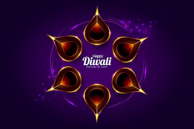 Cartolina d'auguri di felice diwali con uno sfondo viola scuro Vettore Premium