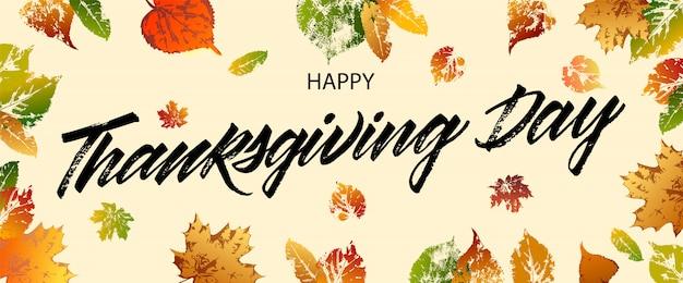Cartolina d'auguri di felice giorno del ringraziamento. iscrizione felice giorno del ringraziamento Vettore Premium
