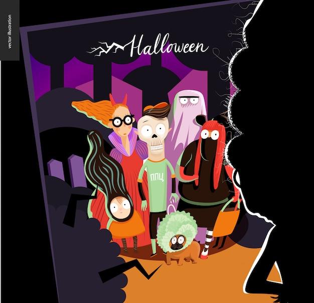 Cartolina d'auguri di felice halloween Vettore Premium