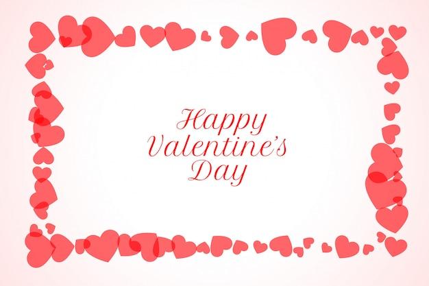Cartolina d'auguri di felice san valentino cornice cuori Vettore gratuito