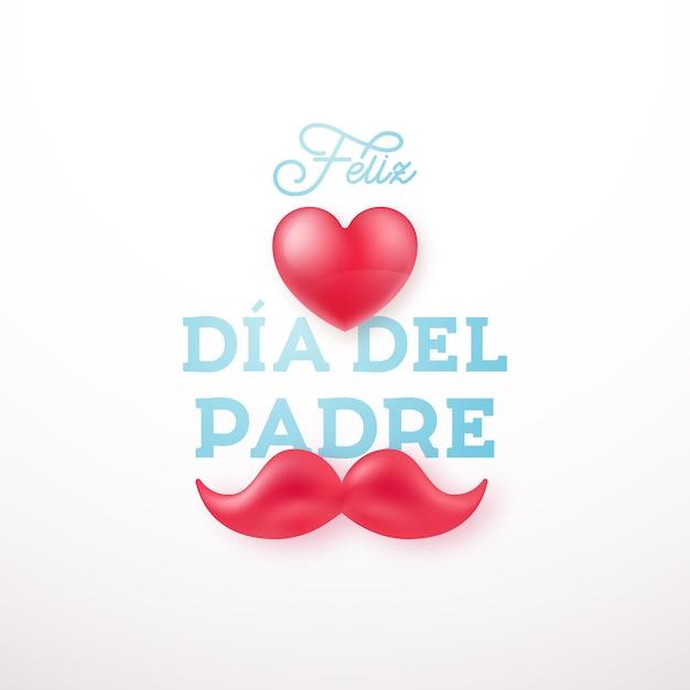 Cartolina d'auguri di festa del papà felice con cuore e baffi. Vettore Premium