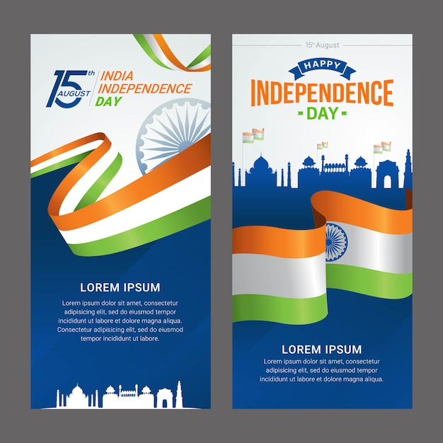 Cartolina d'auguri di festa dell'indipendenza dell'india Vettore Premium