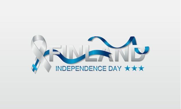 Cartolina d'auguri di festa dell'indipendenza della finlandia. Vettore Premium