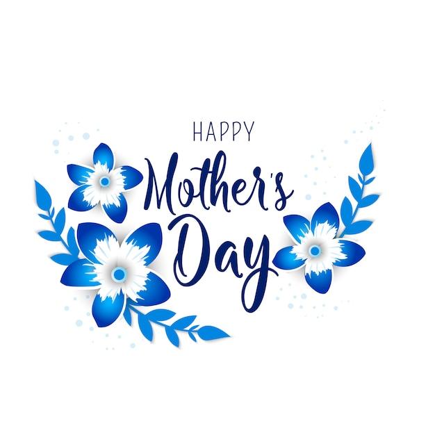 Cartolina d'auguri di festa della mamma con i fiori di origami del fiore. Vettore Premium