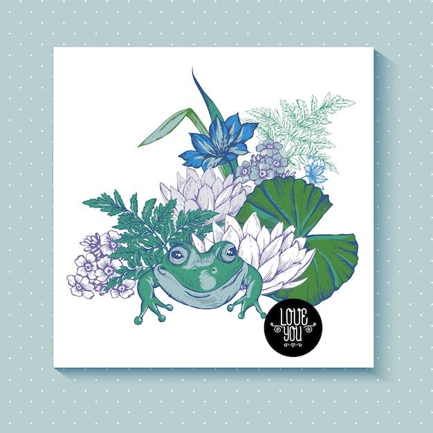 Cartolina d'auguri di fiori acquosi stagno dell'annata Vettore Premium