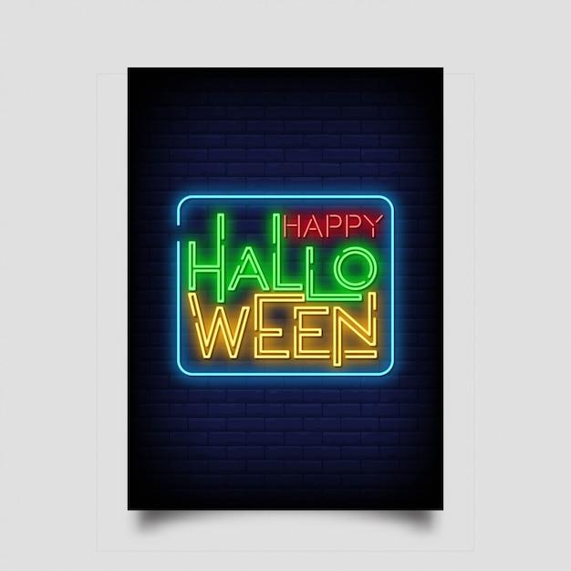 Cartolina d'auguri di halloween felice in stile neon. Vettore Premium