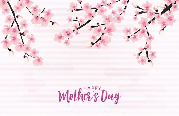 Cartolina d'auguri di happy mothers day con fiori di sakura Vettore Premium