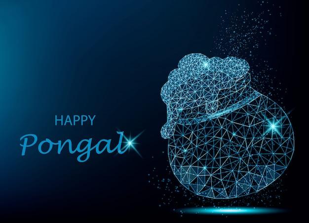 Cartolina d'auguri di happy pongal con vaso poligonale Vettore Premium