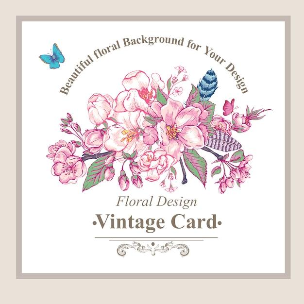 Cartolina d'auguri di primavera giardino d'epoca Vettore Premium