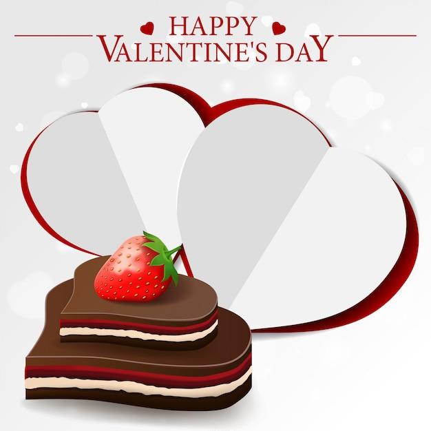 Cartolina d'auguri di san valentino bianco con caramelle al cioccolato Vettore Premium