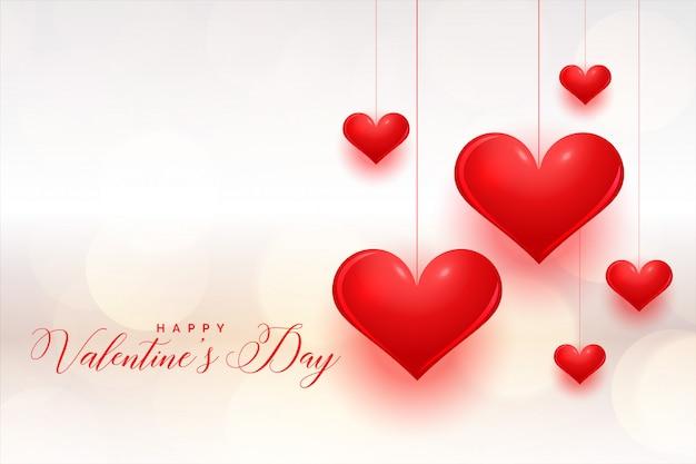 Cartolina d'auguri di san valentino cuori rossi fantastici Vettore gratuito