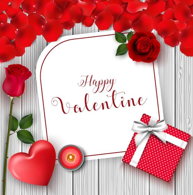 Cartolina d'auguri di san valentino felice Vettore Premium