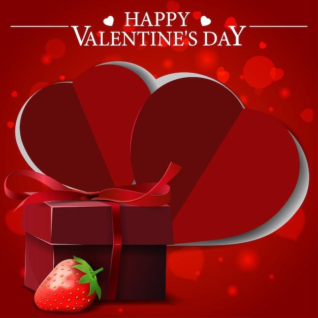 Cartolina d'auguri di san valentino rosso con regalo e fragola Vettore Premium